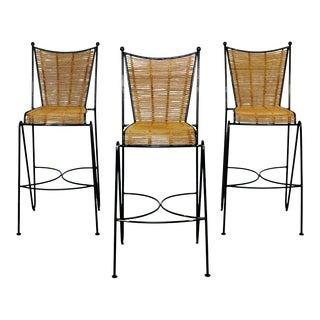 Mid Century Modern Set of 3 Barstools by Pipsan Saarinen Swanson Iron Cane 1960s For Sale