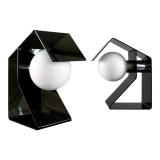 Space Age Black Acrylic Lamps - a Pair For Sale