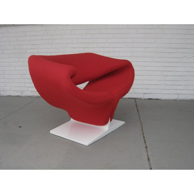Mid-Century Modern 1960s Pop Art Pierre Paulin Red Wool Ribbon Chair For Sale - Image 3 of 13