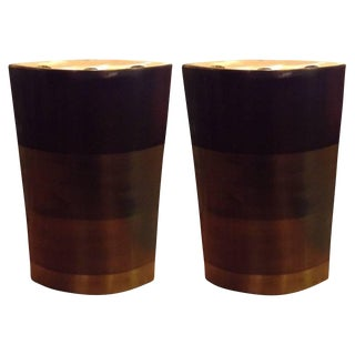 Michael Aram Large Patinated Brass Candleholders - a Pair For Sale
