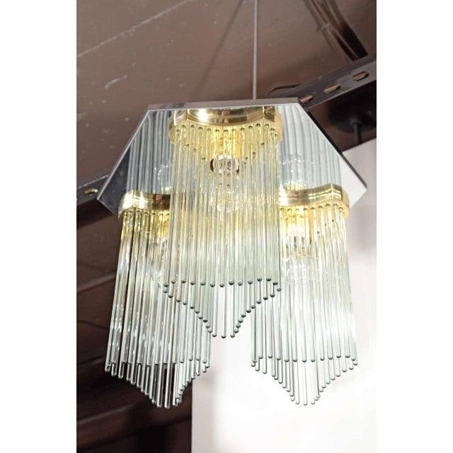 Hollywood Regency Mid Century Modern Glass Rod Waterfall Chandelier by Gaetano Sciolari For Sale - Image 3 of 6