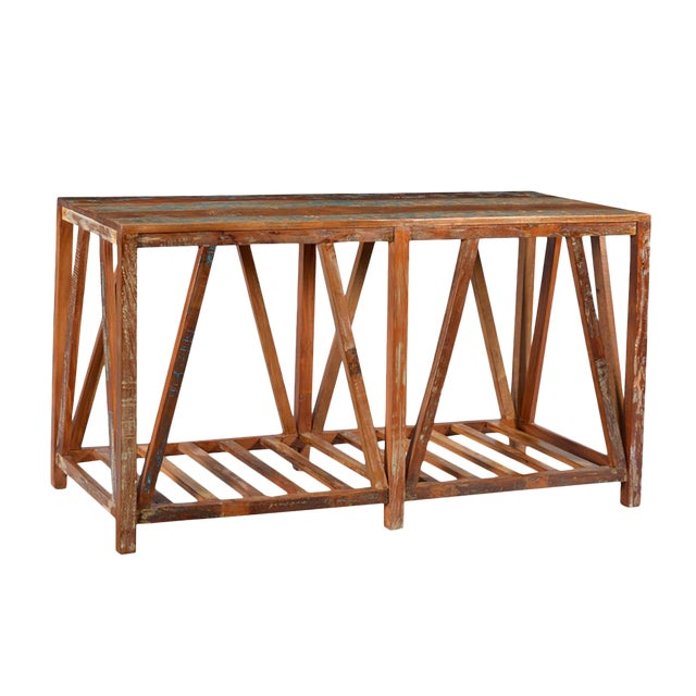 Reclaimed wood rustic console chairish for Buy reclaimed wood los angeles