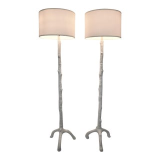 White Faux Bois Floor Lamps Inspired by Serge Roche - a Pair -- Mid Century Modern MCM Art Deco Hollywood Regency Tropical