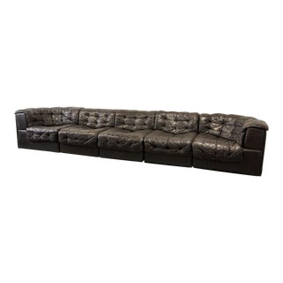 Mid-Century Design Patched Brown Leather 5 Elements Modular Sofa Ds11 for De Sede, 1970s For Sale