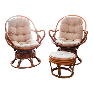 Vintage Rattan Swivel Chairs With Beige Cushions & Ottoman - Set of 3 For Sale