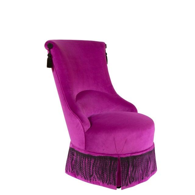 """""""Minna"""" Velvet Boudoir Chair For Sale - Image 10 of 10"""