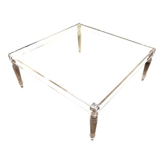 Modern Acrylic and Glass Coffee Table For Sale