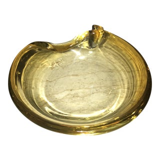 Sunburst Yellow Italian Glass Barbini Style Ashtray Decor For Sale