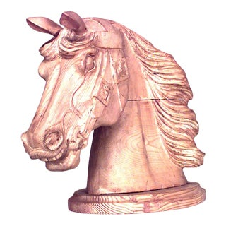 English Country Carved Pine Horse Head For Sale