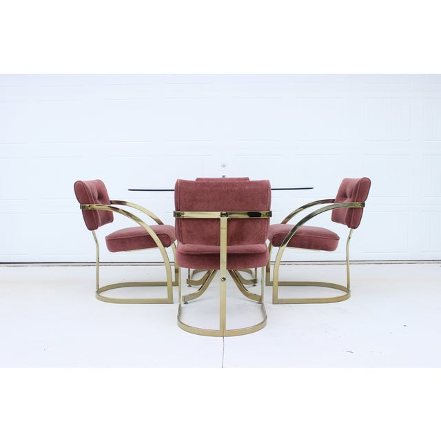 Curved Brass T-Back Dining Chairs - Set of 4 - Image 3 of 11