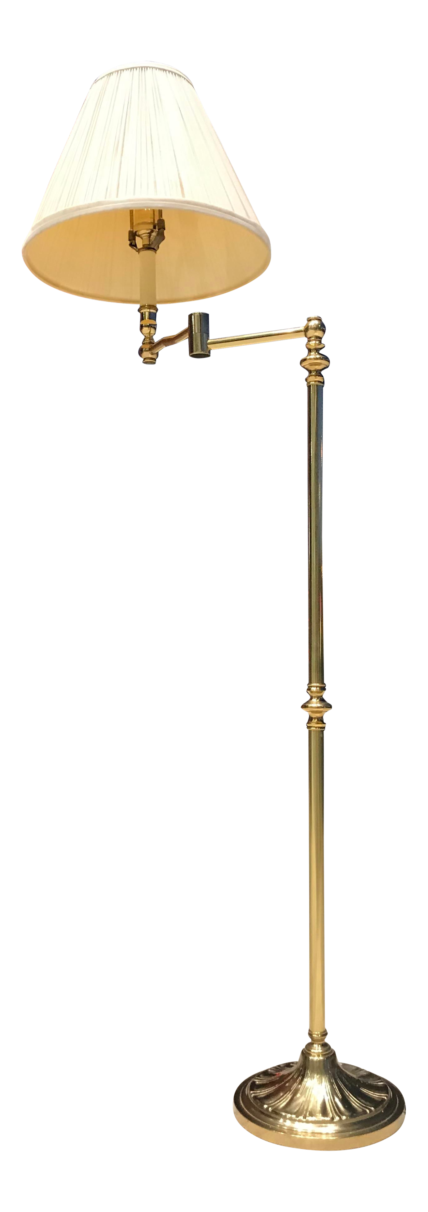 Image of: Vintage Brass Swing Arm Floor Lamp With Original Paper Shade By Remington Chairish