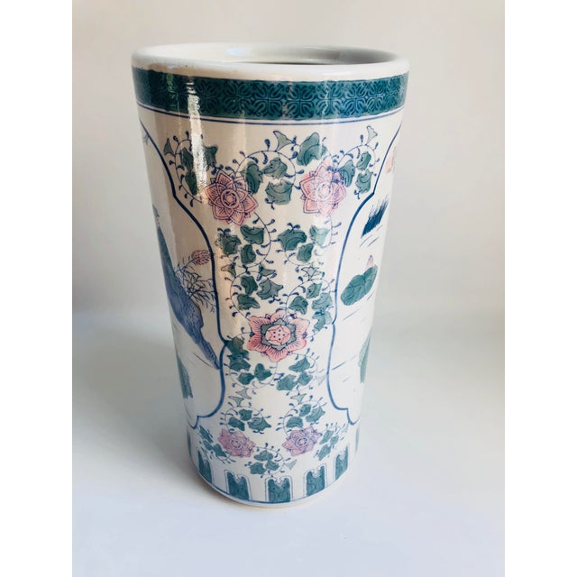 Vintage Chinoiserie Pink, Blue, Lavender & Green Chinese Porcelain Umbrella Holder For Sale In Boston - Image 6 of 8