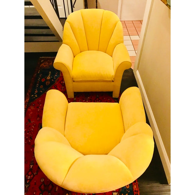 Yellow 1980s American Classical Bright Yellow Velvet Vanguard Channel Back Chairs - a Pair For Sale - Image 8 of 12