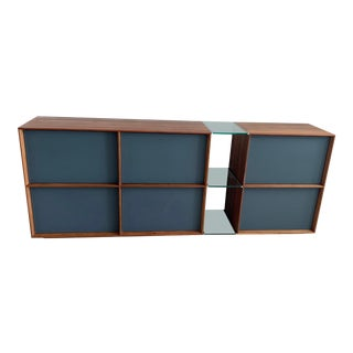 Team7 Lux Walnut With Matte Anthracite Glass Sideboard For Sale
