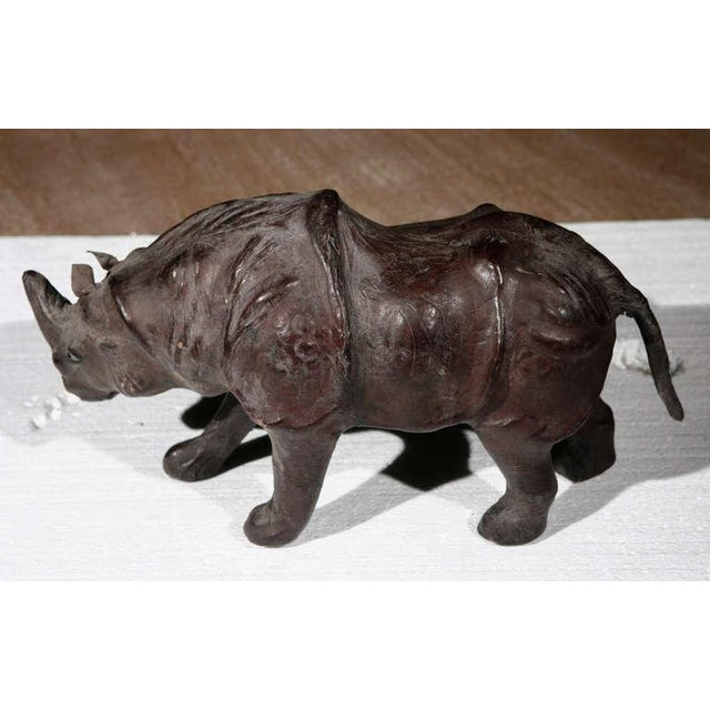 Safari Leather Rhinos Abercrombie & Fitch Style For Sale - Image 3 of 9