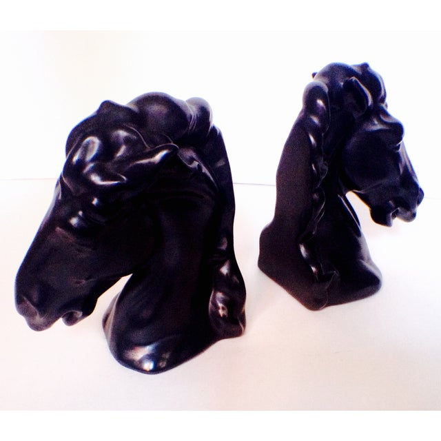 Vintage Black Ceramic Horse Head Bookends - A Pair For Sale - Image 4 of 4