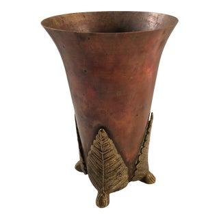 1910s Flared Copper Vase With Brass Leaf Design Base For Sale