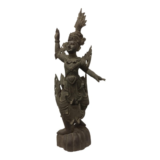 Antique 1920s Carved Khamphi Rosewood Burmese Temple Guardian Statue For Sale