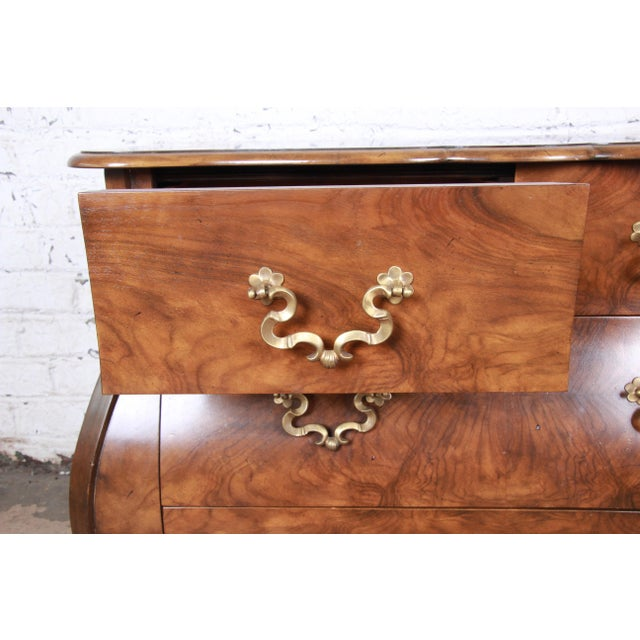 Metal Baker Furniture Burled Walnut Bombay Chest Commode For Sale - Image 7 of 13
