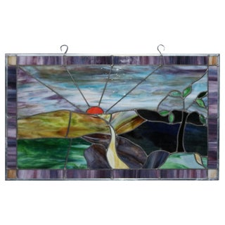 Vintage Pictorial Leaded Slag Glass Panel With Country Road and Sunset Scene For Sale