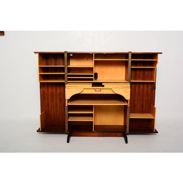 Rosewood Hideaway Desk Cabinet For Sale - Image 4 of 7