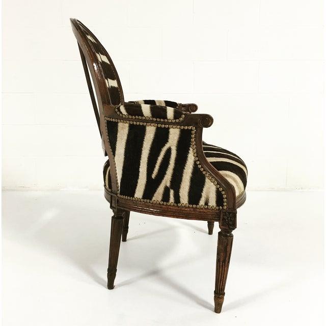 Louis XVI Style Walnut Bergere in Zebra Hide - Image 3 of 7