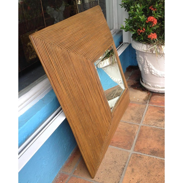 Brown Midcentury Pencil Reed Mirror For Sale - Image 8 of 11