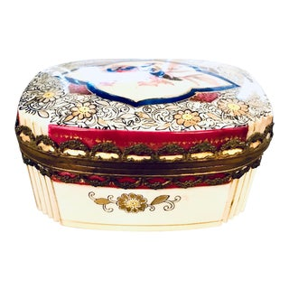 1950s Vintage Japanese Porcelain Jewelry Box For Sale