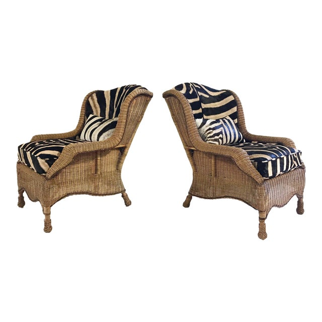 Vintage Ralph Lauren Wicker Wingback Chairs Restored in Zebra Hide - Pair For Sale
