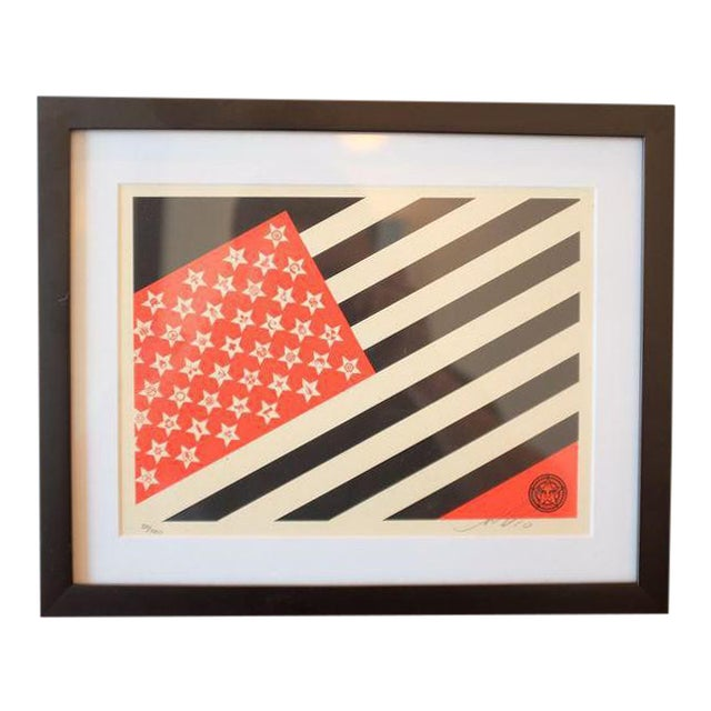 Shepard Fairey Obey Flag Screen Print For Sale
