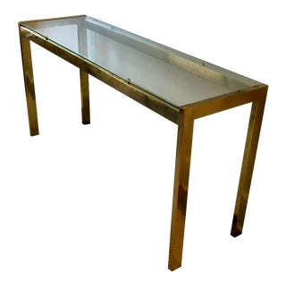Vintage MCM Glass and Brass Console Table For Sale