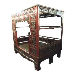 Incredible Carved Chinese Bed Wedding or Opium
