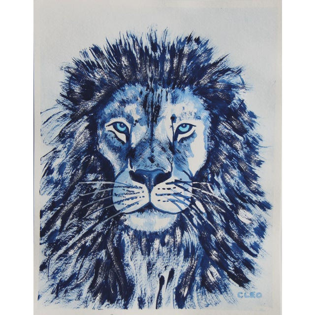 2020s Indigo Blue Lion by Cleo Plowden For Sale - Image 5 of 10