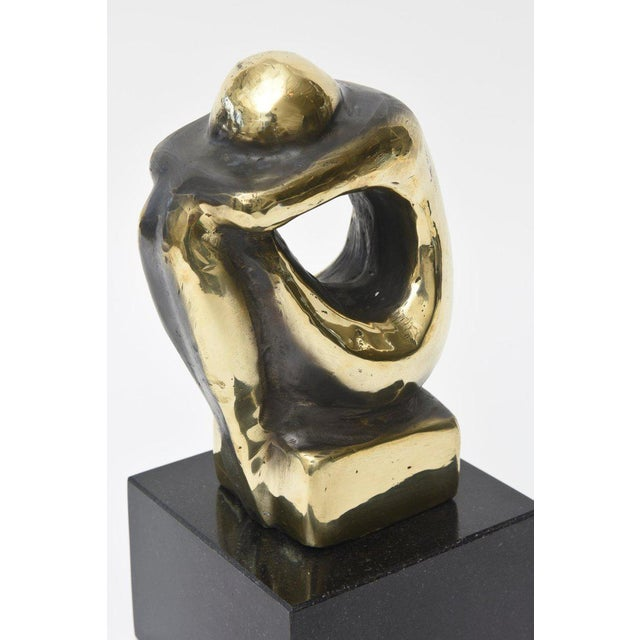 Polished Figurative Brass and Granite Seated Sculpture/Desk Accessory For Sale - Image 4 of 11