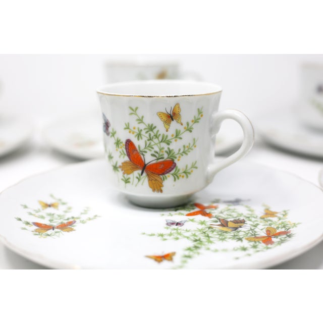 "1970s Vintage ""Ecstasy"" Butterflies Snack Plates and Cups by Shafford - Set of 12 For Sale - Image 5 of 11"