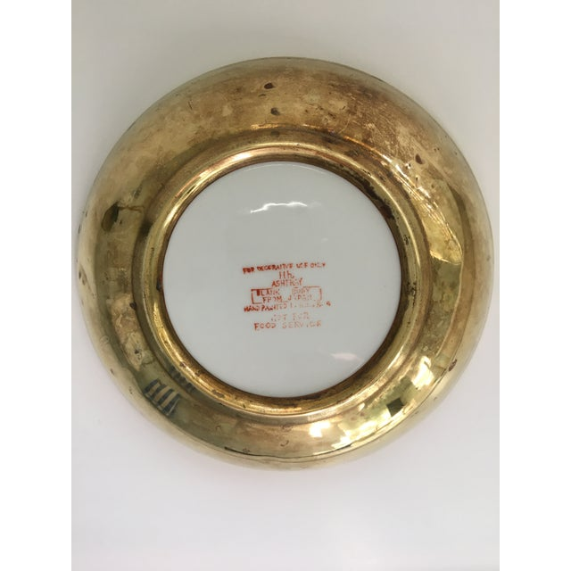 Brass Chinoiserie Floral Hand Painted Porcelain Brass Encased Bowl/Catchall - Made in Japan For Sale - Image 8 of 12