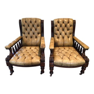 19th Century Vintage English Victorian Library Armchairs - a Pair For Sale