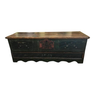 19th C Painted American Blanket Chest For Sale
