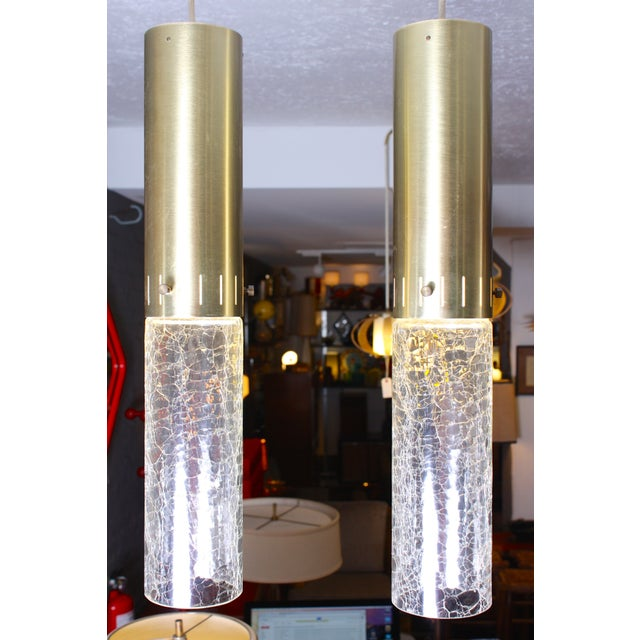 1960s Crackle Glass and Brass Pendants - Pair of 2 - Image 2 of 6