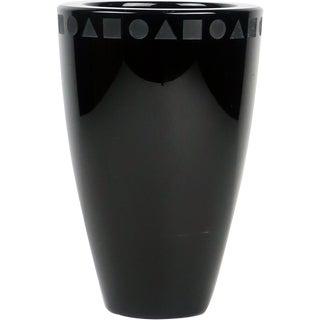 1970s Modern Ward Bennett for Sasaki Black Crystal Vase For Sale