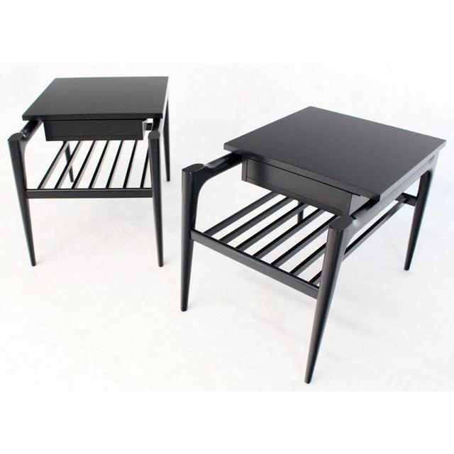 1960s Pair of Black Ebonised One Drawer End Nightstands With Magazine Rack Sculptural For Sale - Image 5 of 13