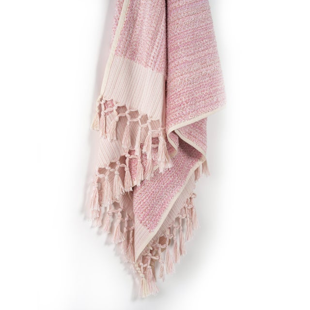 Modern Earth Lines Handmade Organic Cotton Towel in Pink For Sale - Image 3 of 8