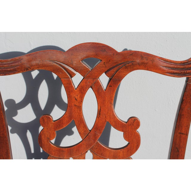 Vintage Mid-Century Chippendale Style Carved Mahogany Occasional Chair For Sale In Miami - Image 6 of 12