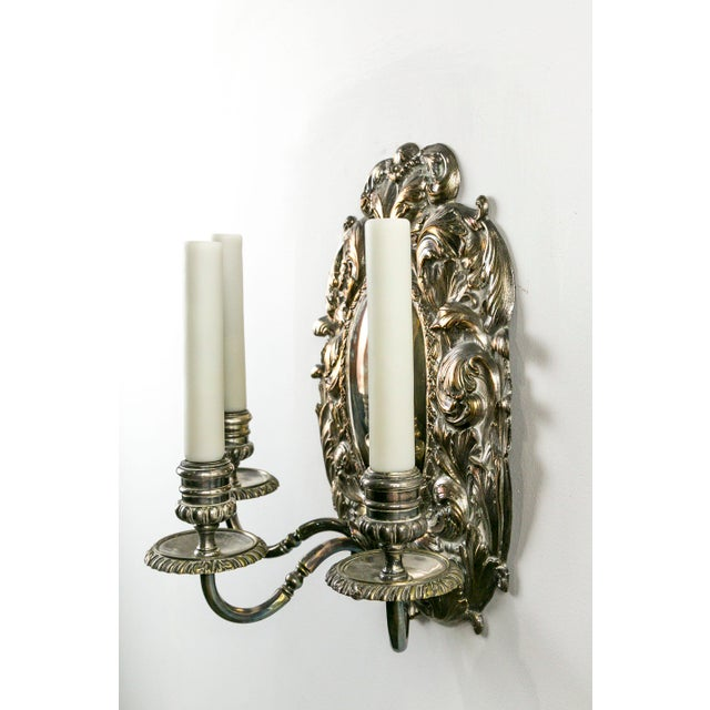 Spanish Silver Shield Triple Candelabra Sconces, Pair (3 Pairs Available) For Sale In San Francisco - Image 6 of 13