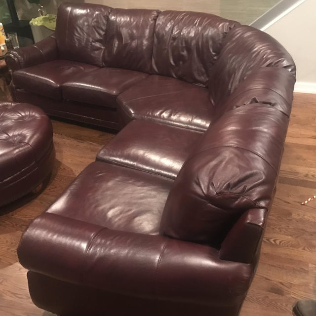 Italian Leather Sectional & Ottoman - Image 3 of 10