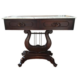Italian Marble and Rose Carved Mahogany Lyre Harp Table