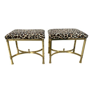 1980s Italian Polished and Reupholstered Mastercraft Chic Brass Benches- a Pair For Sale