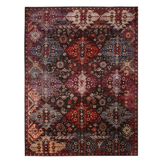 """Contemporary Afghani Tribal Burgundy and Blue Wool Rug-8'9'x11'6"""" For Sale"""