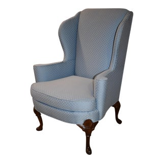 1960s Vintage Huffman-Koos Shaped Queen Anne Style Wing Chair For Sale