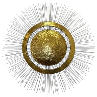Late 20th Century Vintage Brass & Steel Sunburst Wall Sculpture For Sale
